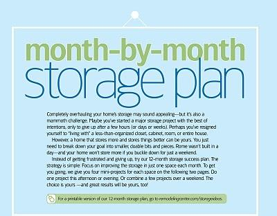 A month by month plan to get your home storage organized