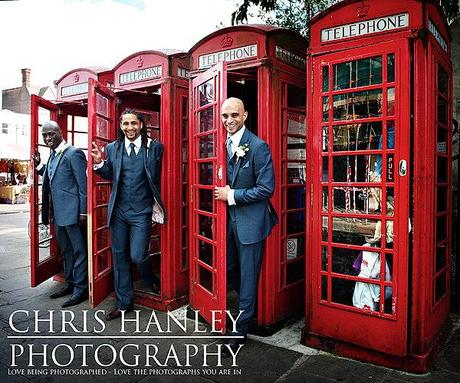 A conveniently classic row of phone boxes just around the corner from the church make for a great location shoot!!
