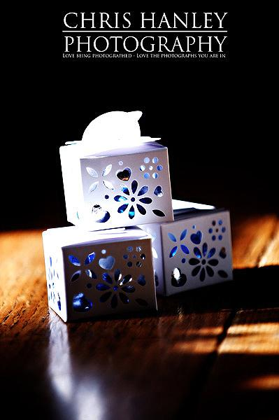 Lovely die cut wedding favour boxes with blue sweeties inside