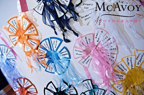 The wedding table plan: like little cakes of colour! I love this idea.