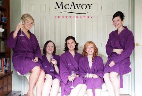 The wedding theme was purple. Jane and her bridesmaids made an early start with the colour scheme!