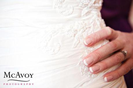 Beautiful embroidery detailing on the wedding dress