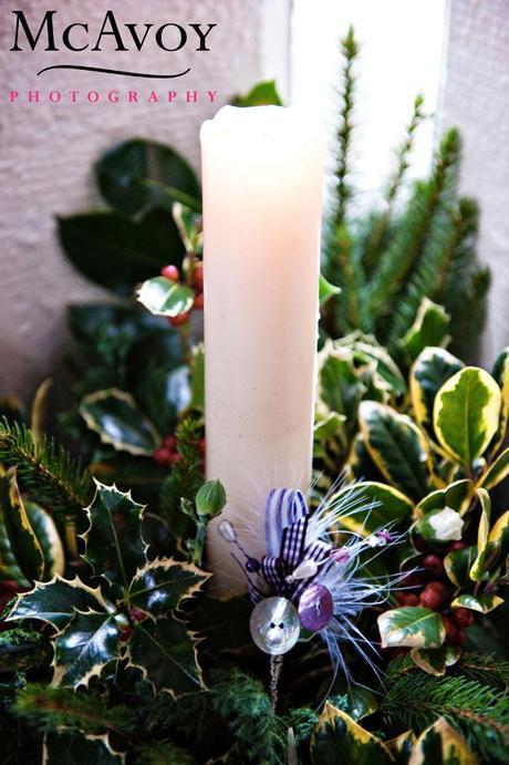 Candle with a little purple check ribbon