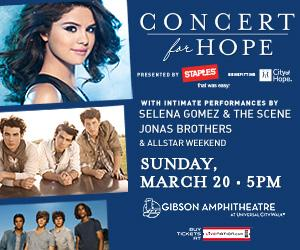 Win 2 Free Tickets to see Selena Gomez, Jonas Brothers, AllStar Weekend in Southern California on March 20, 2011 to benefit City of Hope
