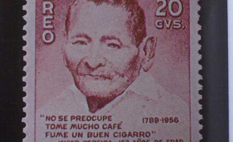 Javier Pereira lived 169 years with lots of coffee, cigars and without worries / Stamp from Colombia