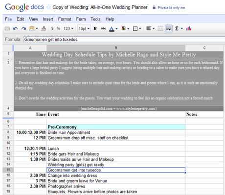 Google Docs wedding planning tool
