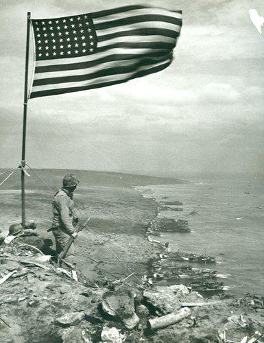 American Flag on Iwo Jima overlooking the landing beaches