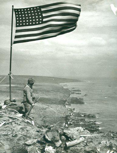 American Flag on Iwo Jima overlooking the landing beaches