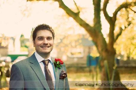 Matt is one handsome groom! I really like his suit - a lovely slate grey with weave detailing