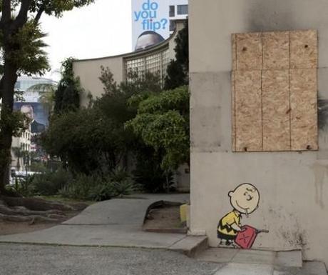 Video: Banksy in LA – Charlie Brown the Arsonist – 2/15/11
