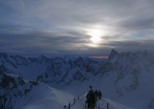 snow ridge on Aiguille du Midi