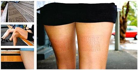 Plates On Benches Leave Ads On Ladies' Legs