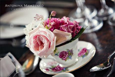 Pink roses in cups and saucers - adorable