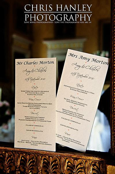 Amy and Charlie's wedding menus (doesn't it sound lovely!