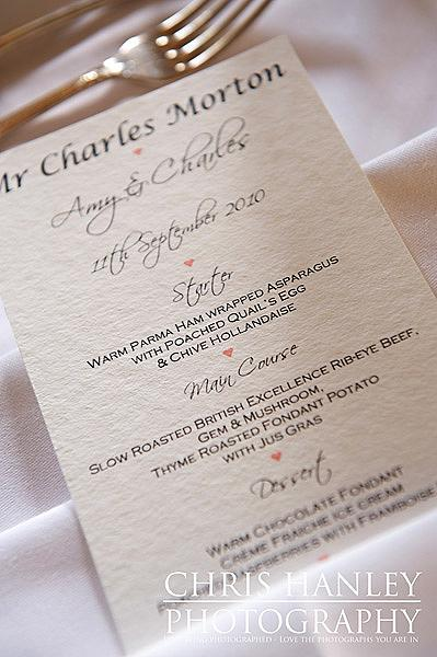 A wedding menu for a stately home