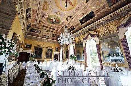 Brocket Hall laid out for a wedding reception. Chris Hanley describes this wedding day as majestic, and I can see why. Wow.