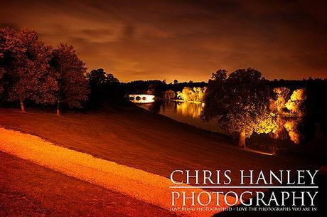 The sun sets on Brocket Hall after the wedding