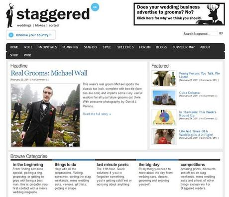 Staggered men's wedding advice website