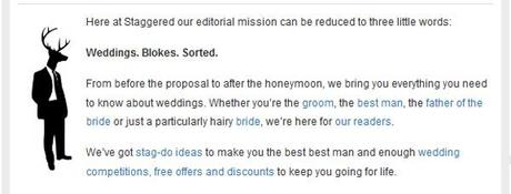 About Staggered men's wedding website