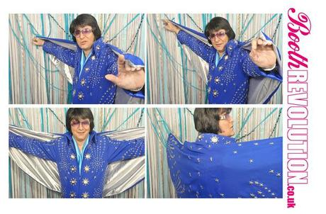 Elvis performs in a photo booth in Yorkshire