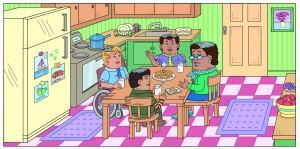 Grandma Hattie is storytelling around the kitchen table