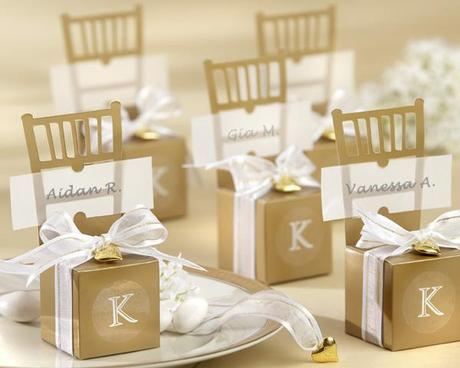 Miniature Gold Chair Favor Box with Heart Charm and Ribbon (Can be Monogrammed) wedding favors