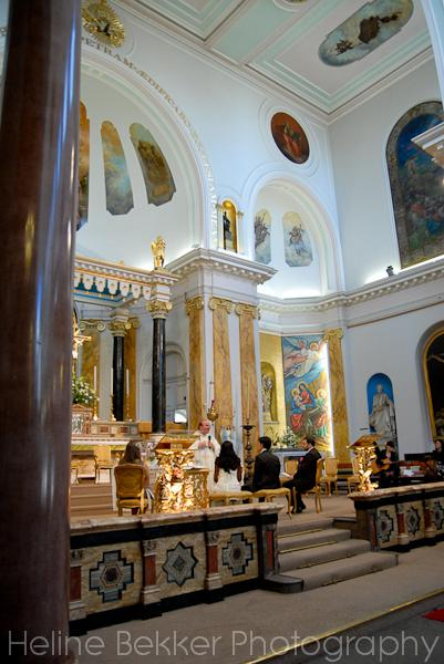 A grand and different church for a wedding: the frescoes and gilding are so light and calming