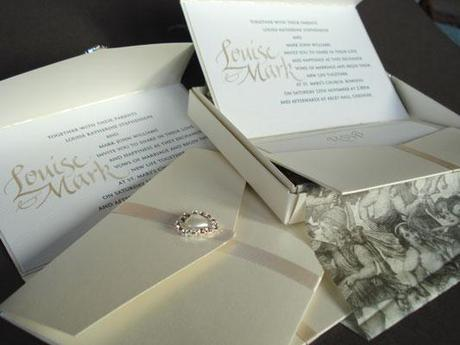 Beautiful boxed calligraphy invitations for luxury weddings by Urbis Scriptores