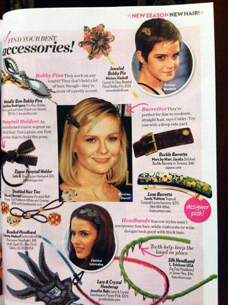 celebs wearing hair barrettes and pins
