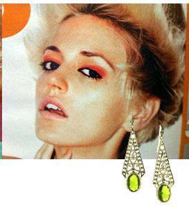 green jewelry aztec triangular earrings