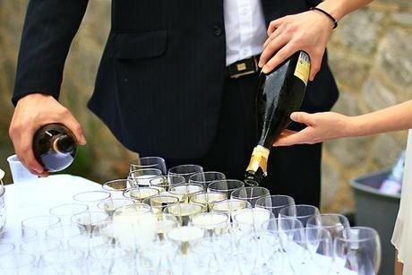 Pouring the champagne