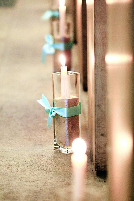 The first little details: light candles in votives with sand