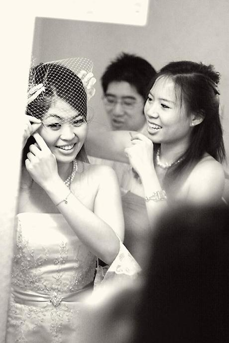 The girls have a great time getting ready - and I do like Viv's little birdcage veil