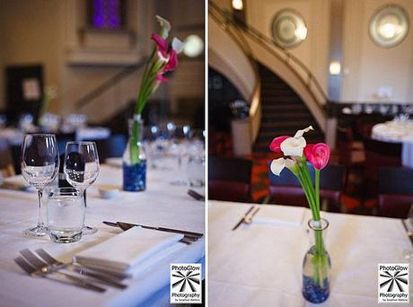 the wedding tables - simply decorated and looking lovely