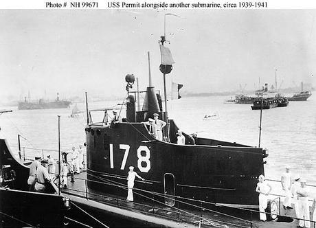 USS Permit (SS-178) alongside another submarine, circa 1939-1941. Probably seen from USS Canopus (AS-9) in Manila Bay, Philippines.