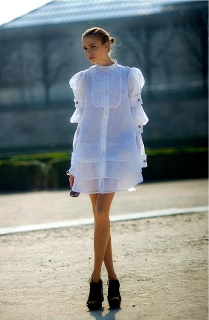 Dress - White - Sheer - Layered (Street Style Aesthetic)