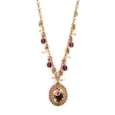 pearls and beads porcelain rose necklace: 42631