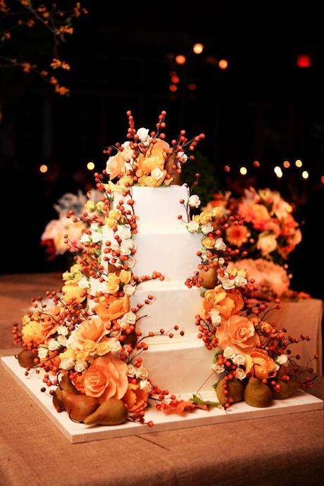 Autumn wedding cake from Style Me Pretty and Orchard Cove Photography