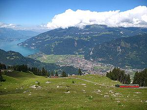 Interlaken, Abendberg, and Lake Thun viewed fr...