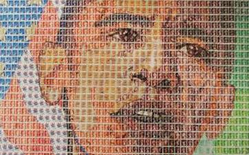 Portraits Of Icons Created From Postage Stamps