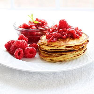 Apple Raspberry Sauce and Ricotta Pancakes