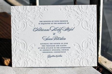 Gorgeous embossed Elegant Jolie Letterpress invites from Bella Figura
