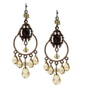 Topaz copper chandelier earrings
