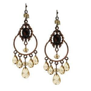 Topaz copper chandelier earrings