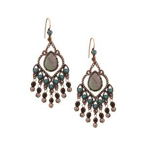 Copper & Mother of Pearl Chandelier Earrings