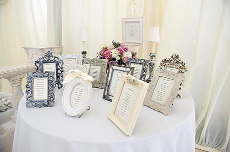 wedding blog photograph of vintage style photo frame table plan