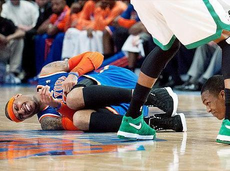 Carmelo Anthony Bloodied And Down
