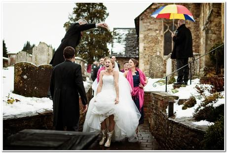 Winter wedding with wellies by Kevin Mullins Photography