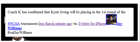 Update: Kyrie Irving is Back, Bitches