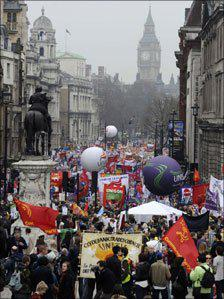 Marchers in Whitehall